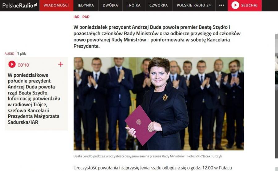 Zrzut ekranu - depesza na stronie polskieradio.pl z przerobionym zdjęciem PAP