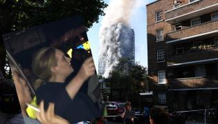 Adele pojawiła się na miejscu pożaru w Londynie / fot. piosenkarki z konta @FourMe na Twitterze