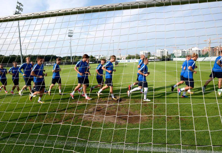 Piłkarze Lecha podczas treningu w Poznaniu