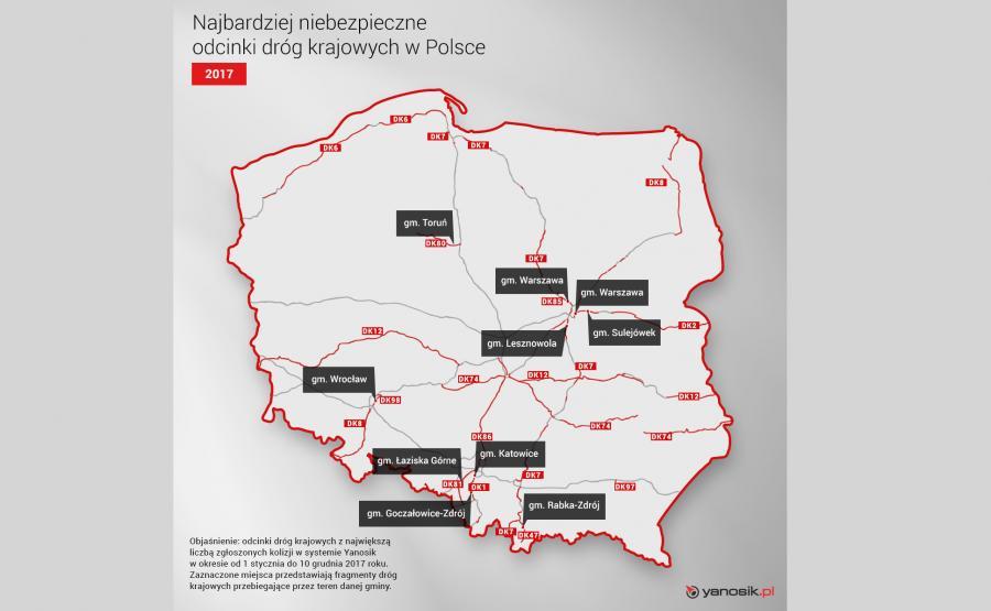 Najbardziej niebezpieczne odcinki dróg krajowych w Polsce