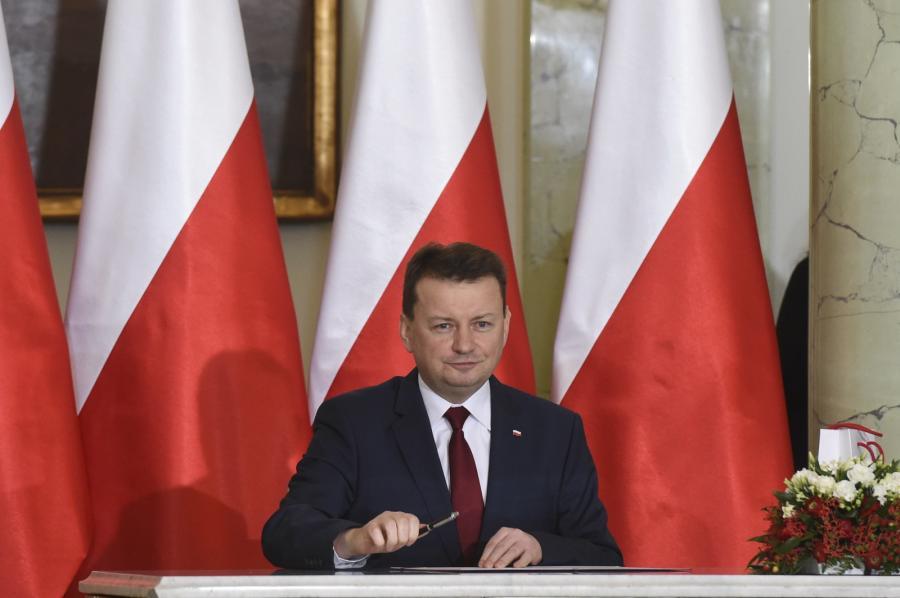 Zaprzysiężony na stanowisko ministra obrony narodowej Mariusz Błaszczak podczas uroczystego powołania nowych członków Rady Ministrów.
