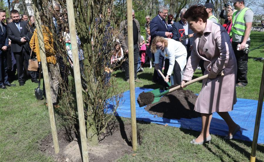 Prezydent Warszawy w parku Tadeusza Mazowieckiego