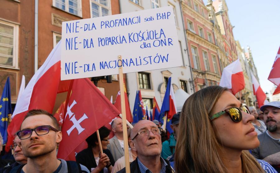 Protestujący na ulicach Gdańska