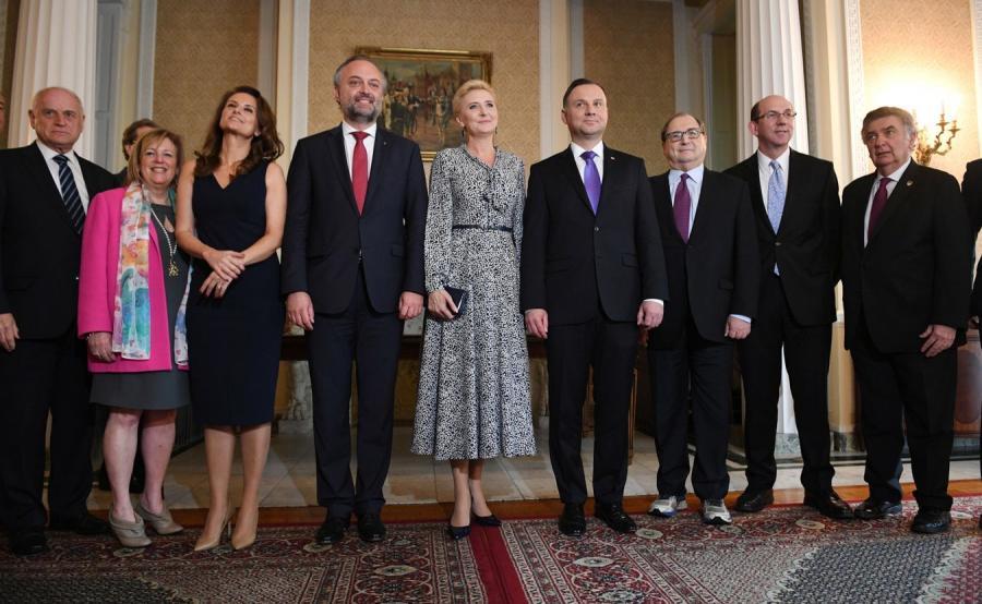Prezydent Duda z małżonką na spotkaniu z przedstawicielami organizacji żydowskich
