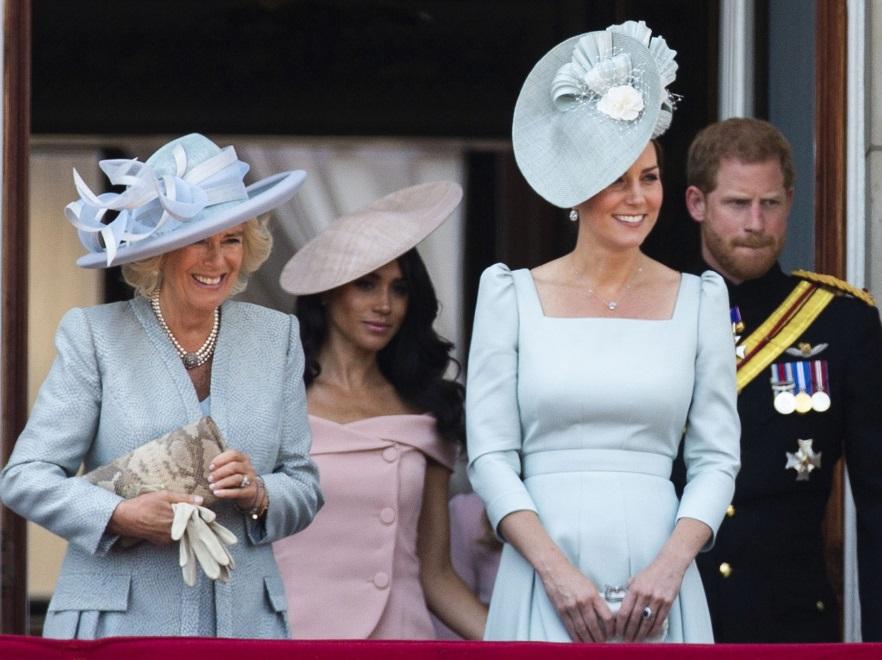 Księżna Camilla, księżna Meghan, księżna Catherine i książę Harry