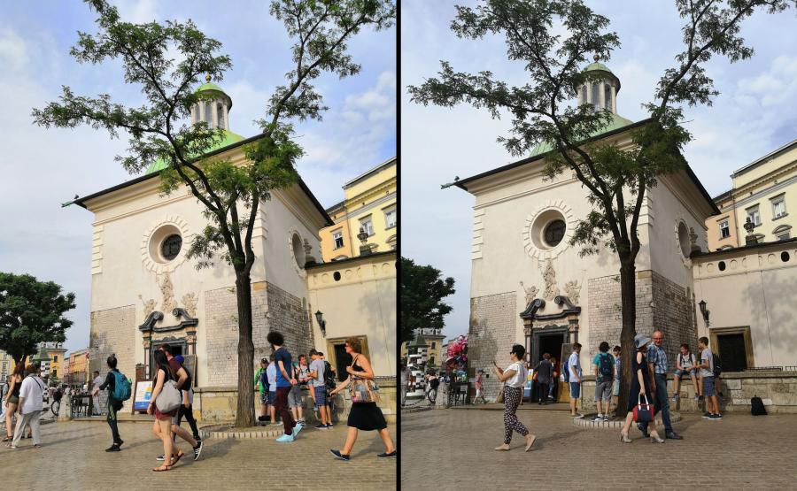 Po lewej zdjęcie wykonane Honorem 10, po prawej - Huaweiem P20