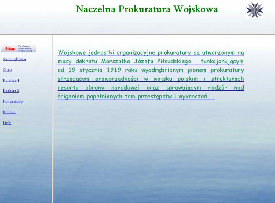Strona Naczelnej Prokuratury Wojskowej jest wg internautów najgorszą stroną opłaconą z podatków