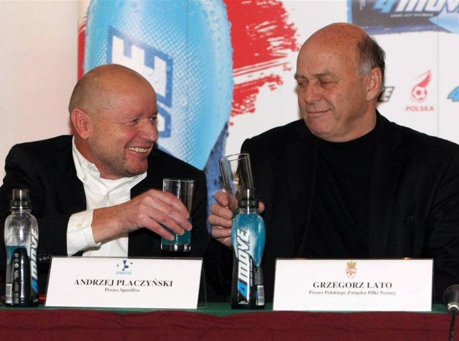 Szef Sportfive, Andrzej Placzyński i prezes PZPN, Grzegorz Lato