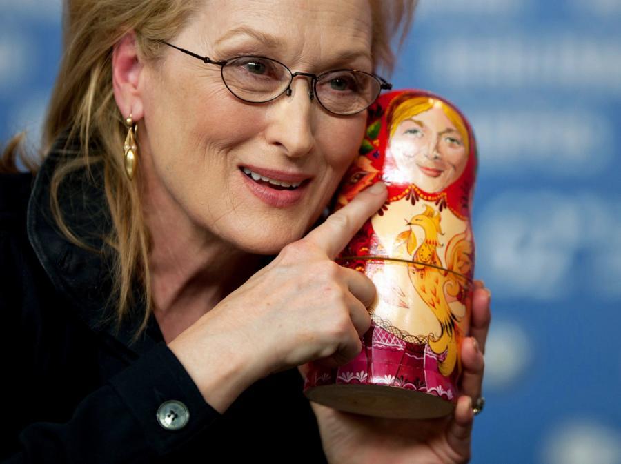 Meryl Streep na konferecji prasowej w Berlinie