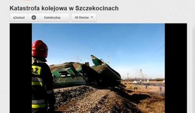 Katastrofa kolejowa pod Szczekocinami. Kadr z amatorskiego filmu wideo