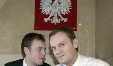 Michał Tusk wraz z ojcem
