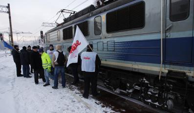 Strajkujący kolejarze
