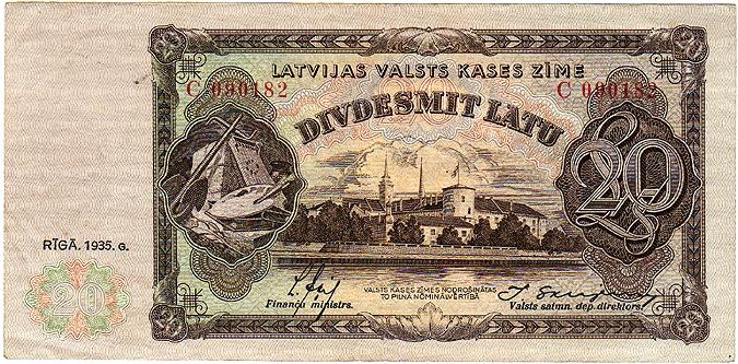 Awers banknotu 20-łatowego Łotewskiego Ministerstwa Finansów z 1935 r.