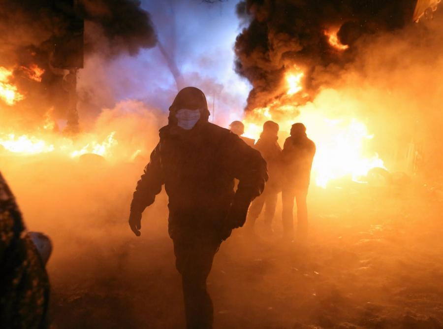 Zamieszki w Kijowie przy ulicy Hruszewskiego