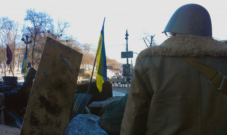 Barykady na Majdanie w Kijowie