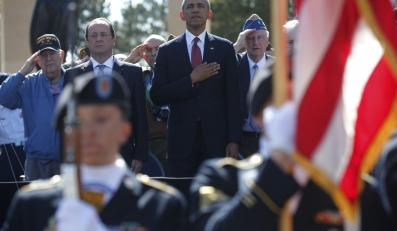 Francois Hollande i Barack Obama na uroczystościach 70 rocznicy lądowania w Normandii