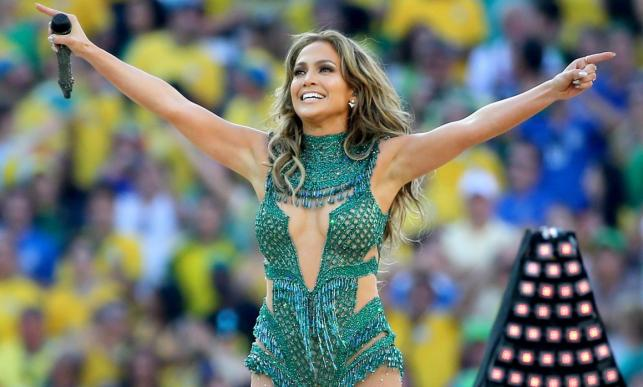 Jennifer Lopez podczas ceremonii otwarcia mundialu w Brazylii