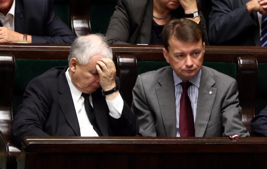 Prezes PiS Jarosław Kaczyński i poseł PiS Mariusz Błaszczak