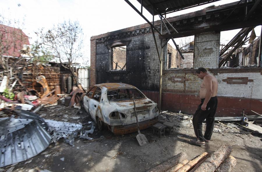 Zniszczenia pod Ługańskiem