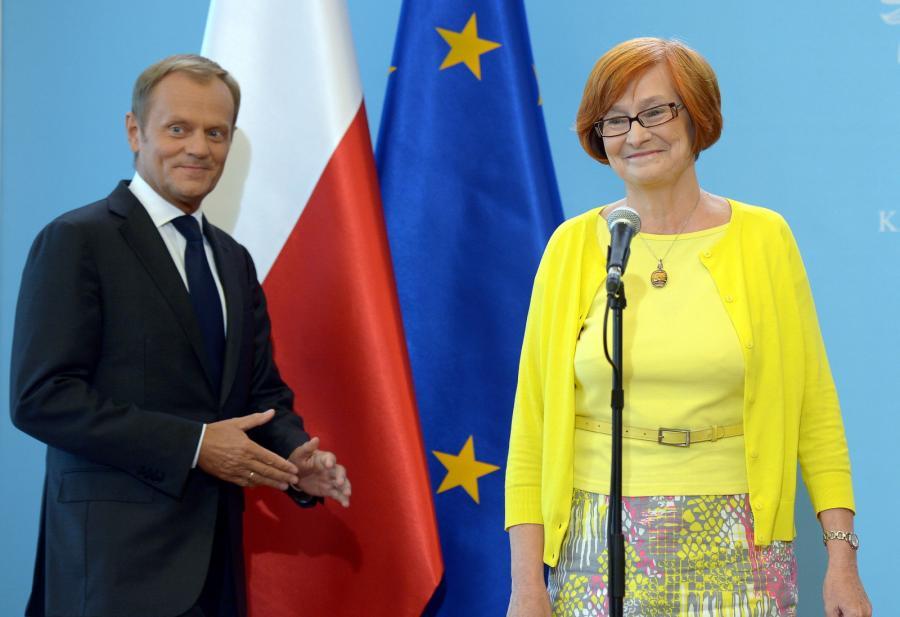 Nowa pełnomocnik rządu ds. równego traktowania Małgorzata Fuszara i premier Donald Tusk