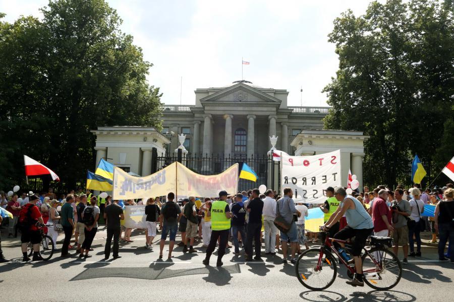 Manifestacja proukraińskich aktywistów w Warszawie