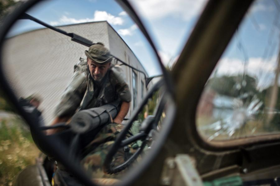 Żołnierz ochotniczego proukraińskiego batalionu \