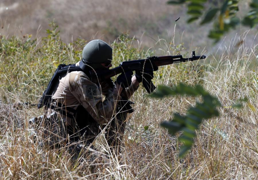 Żołnierz ochotniczego oddziału Szachtarsk