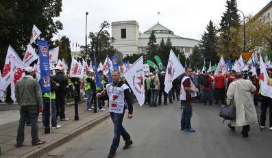 Górnicy przed Sejmem