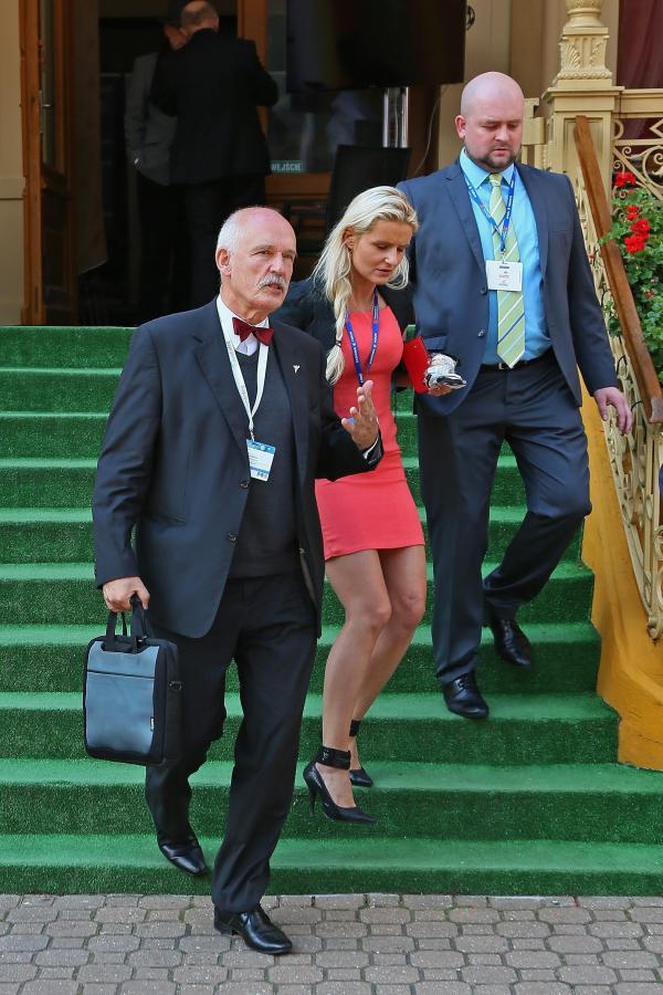 Janusz Korwin-Mikke z córką Korynną podczas 24. Forum Ekonomicznego w Krynicy