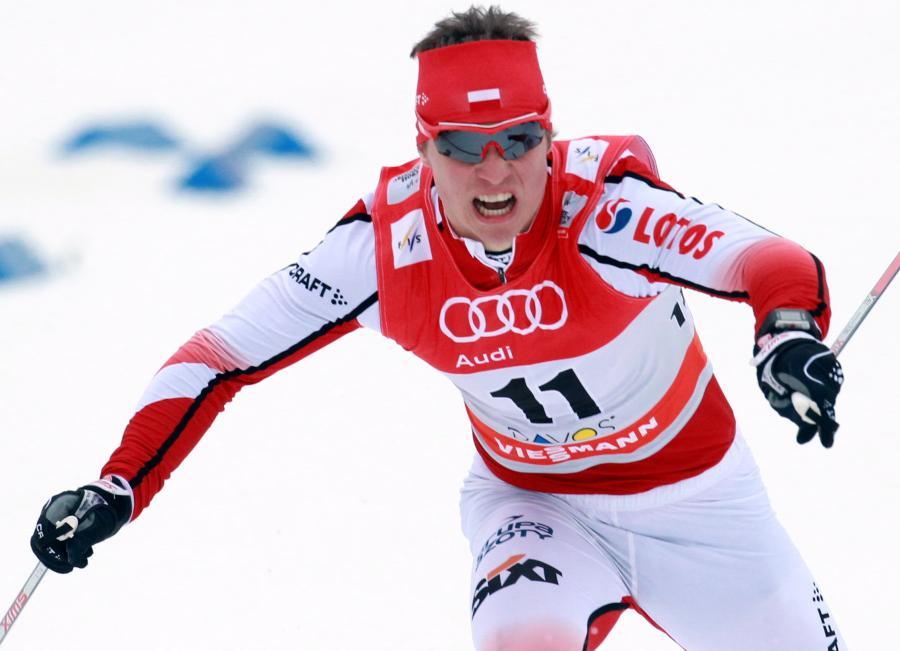Maciej Staręga w półfinale sprintu techniką dowolną, podczas zawodów Pucharu Świata w Davos