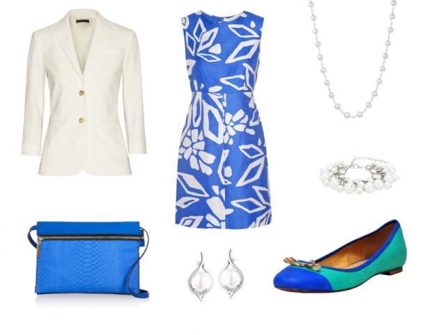 Sukienka Diane von Furstenberg, marynarka The Row, baletki Carinii, kopertówka Victoria Beckham, naszyjnik Belpearl, bransoletka Sweet Deluxe, kolczyki Apart