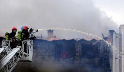 Pożar pralni w Będzinie
