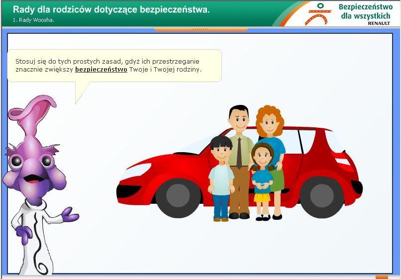 Fioletowy ludzik uczy dzieci bezpieczeństwa