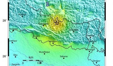 Mapa sejsmiczna obszaru wstrząsów w Nepalu