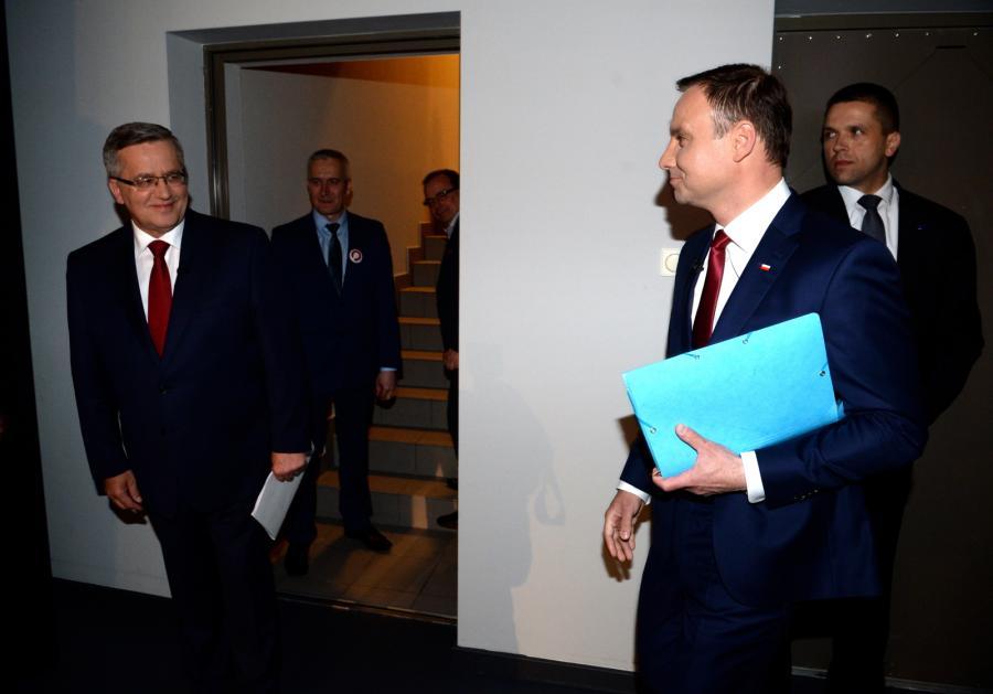 Bronisław Komorowski i Andrzej Duda w studiu TVN