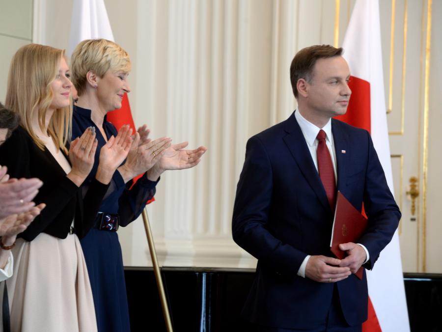 Andrzej Duda z żoną Agatą Kornhauser-Dudą i córką Kingą