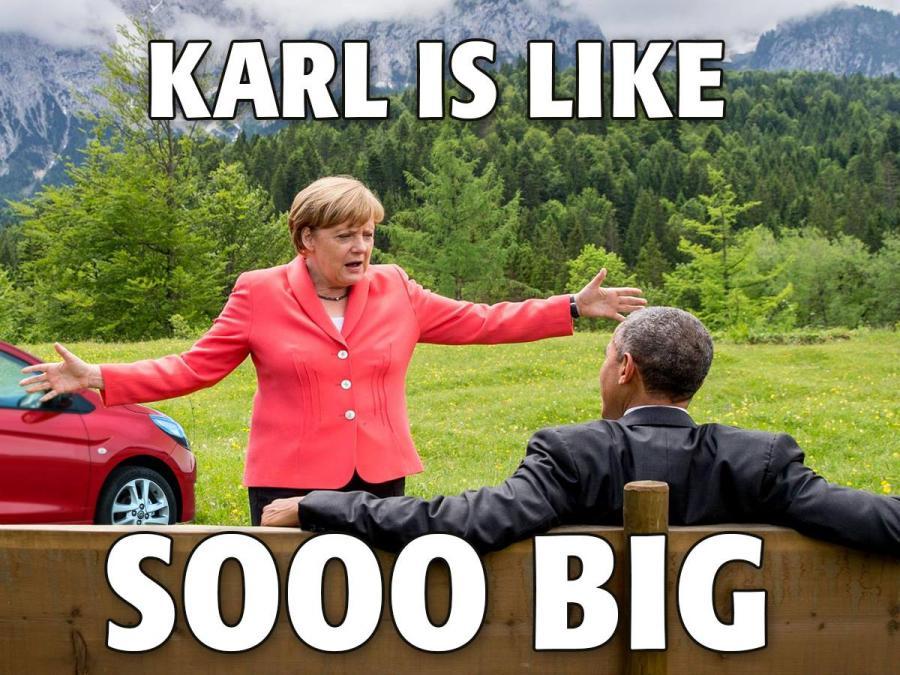 Angela Merkel, Barack Obama i nowy opel karl w tle
