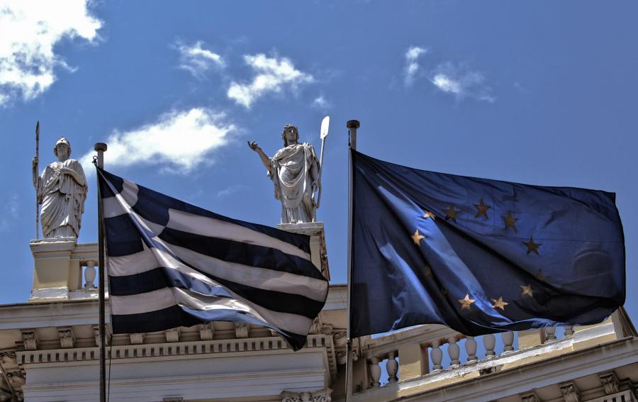 Flaga Grecji i Unii Europejskiej