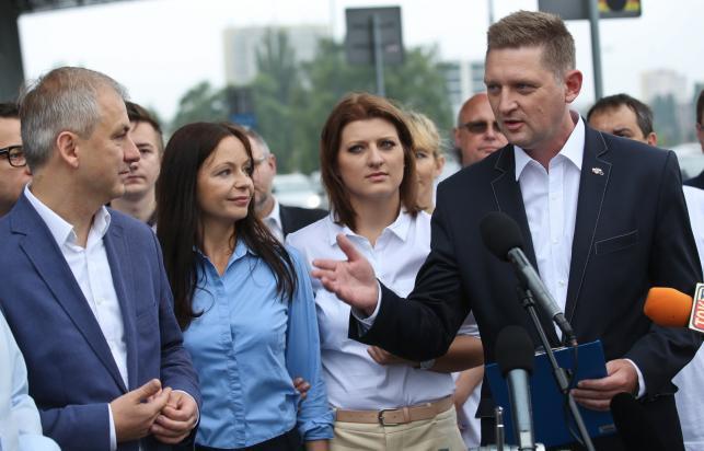 Jacek Rozenk, Grzegorz Napieralski, Anna Uzdowska i Aleksandra Popławska