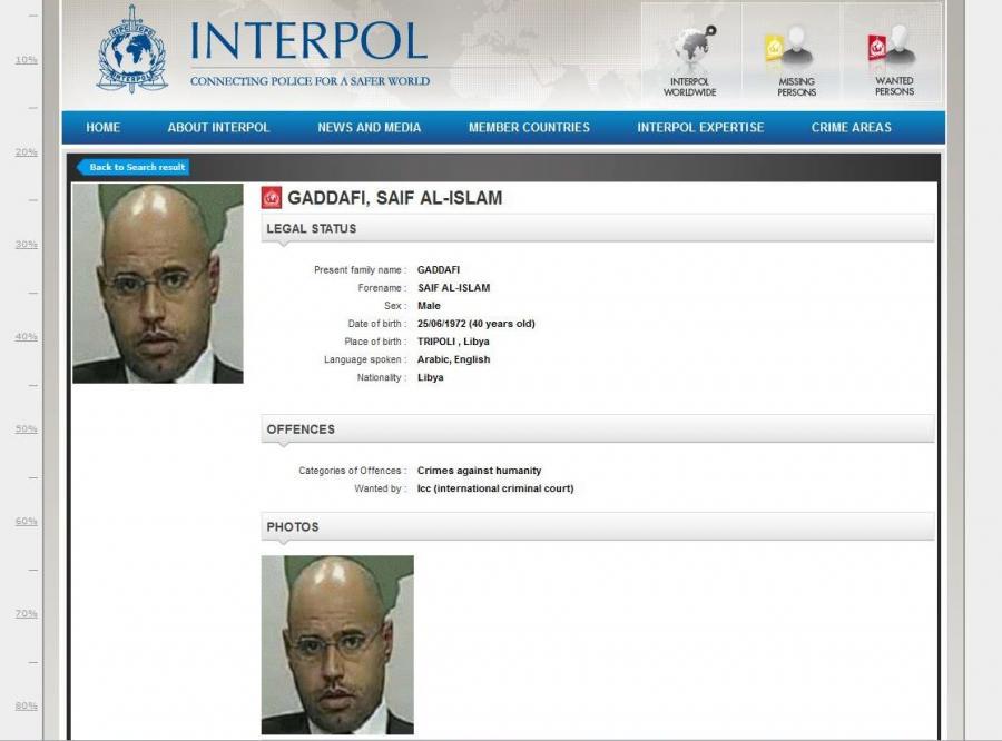 Saif al-Islam, syn Muammara Kadafiego na liście gończym wystawionym przez Interpol. Poszukiwany za zbrodnie przeciwko ludzkości