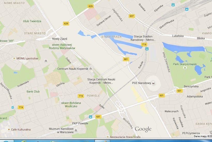 Brak Wisły na mapach Google\'a