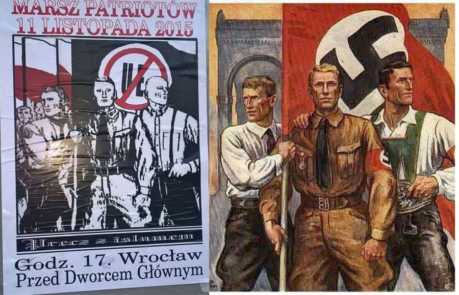 Dwa plakaty - współczesny i nazistowski. Po lewej plakat Marszu Patriotów, po prawej afisz również patriotów, tylko że nieco innych