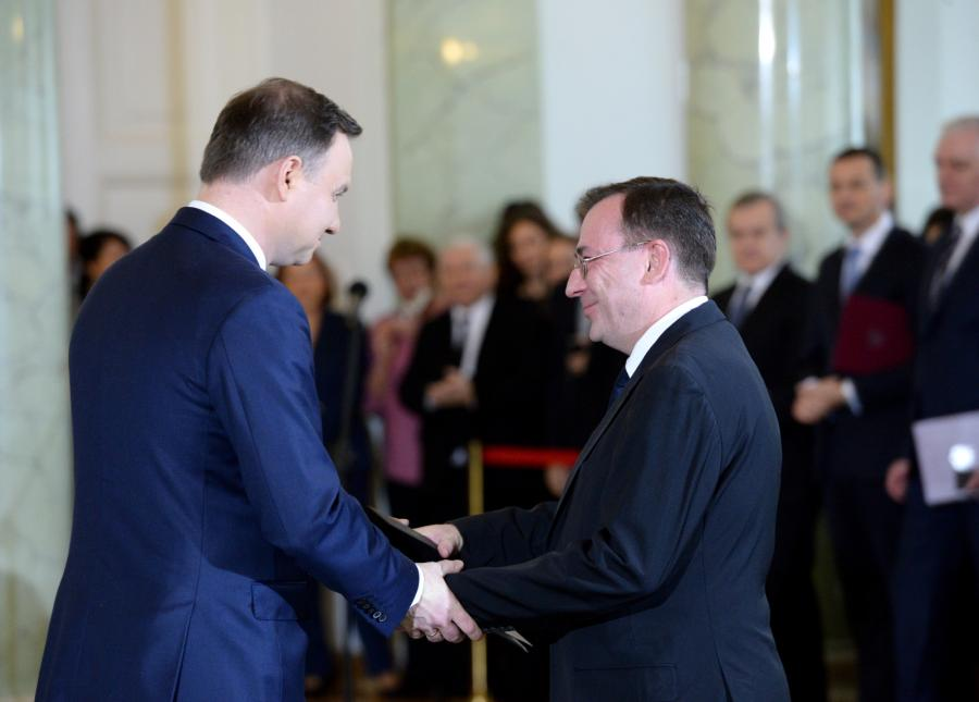 Prezydent Andrzej Duda i minister w KPRM, koordynator służb specjalnych Mariusz Kamiński