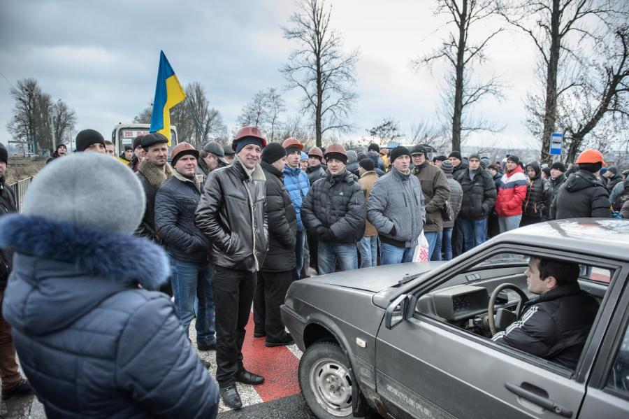 UKRAINA. Smereków. Protest górników i blokada drogi