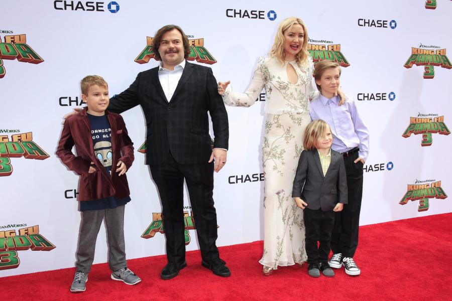 Jack Black z synem oraz Kate Hudson i jej dzieci: Ryder i Bingham