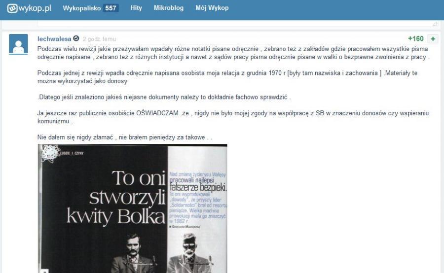 Wpis na blogu Lecha Wałęsy