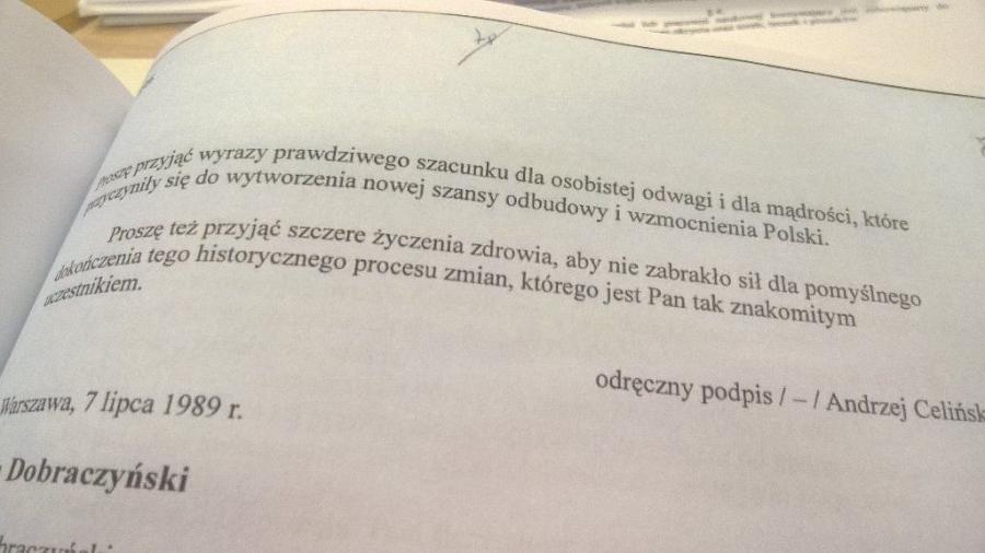 List Andrzeja Celińskiego do Czesława Kiszczaka