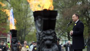 Prezydent Andrzej Duda na obchodach 73. rocznicy powstania w getcie warszawskim