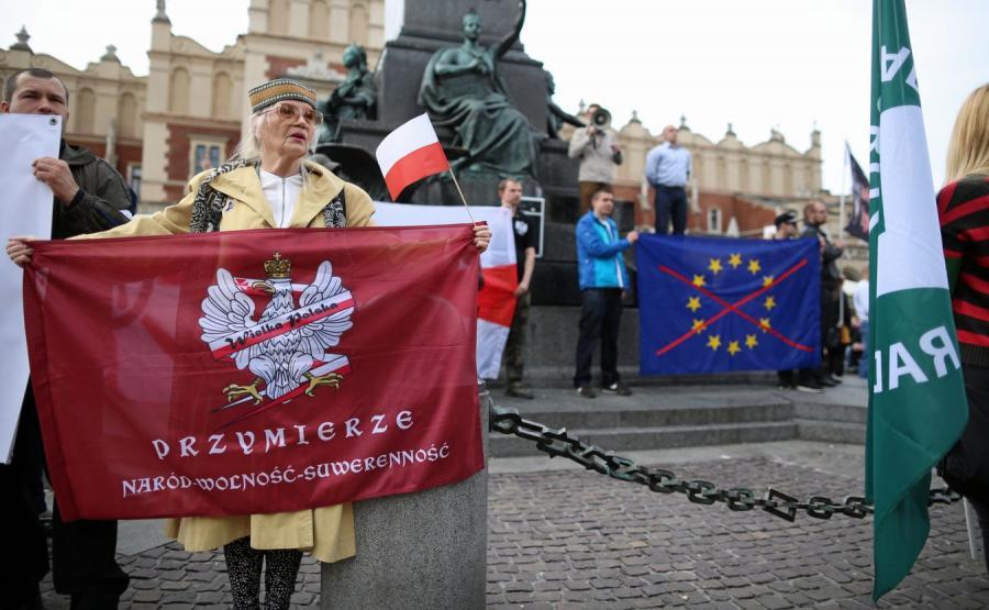 Manifestacja antyunijna w Krakowie