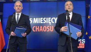 Przewodniczący KP PO Sławomir Neumann i lider PO Grzegorz Schetyna
